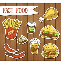 Fast food menu - fast food stickers vector