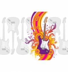guitar rainbow waves vector image vector image
