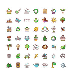 Icons ecology vector