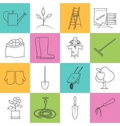 Line colorful icons gardening equipment vector