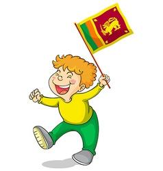 Little boy holding flag of Sri Lanka vector image