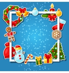 Merry Christmas and Happy New Year sticker vector image vector image