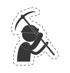 Mining man with helmet pick axe figure pictogram vector