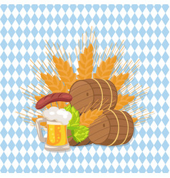 octoberfest poster with wooden background and text vector image vector image