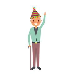 Older man grandpa wearing birthday hat hand up vector
