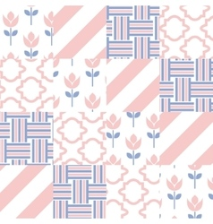 Patchwork quilt pattern tiles vector image vector image