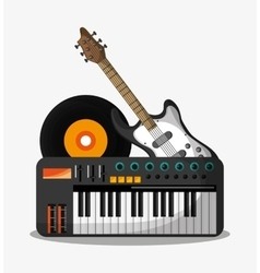 Piano guitar and vinyl design vector