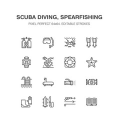 Scuba diving snorkeling line icons spearfishing vector