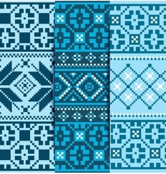 Set christmas knitted pattern vector