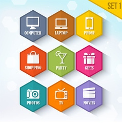 Trendy Rounded Hexagon Icons Set 1 vector image