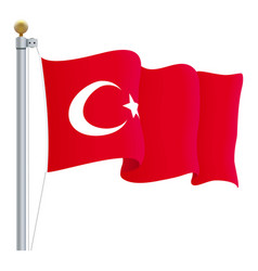 waving turkey flag isolated on a white background vector image