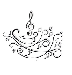 Musical notes ornament with swirls on white vector