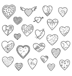 Set of sketch hearts isolated on white vector image