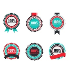 100 satisfaction quality label set in flat vector
