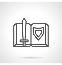 Book adventures of knights simple line icon vector