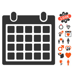 Calendar icon with valentine bonus vector