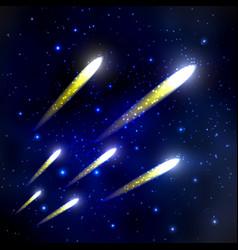 Comet in the starry sky vector
