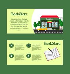 Book store horizontal flyers vector