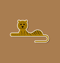paper sticker on stylish background cartoon tiger vector image