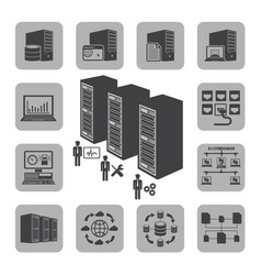 Big data icons set system infrastructure vector