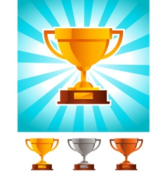 Gold winner cup trophy vector
