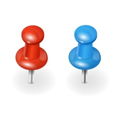 red and blue pushpin on white background vector image