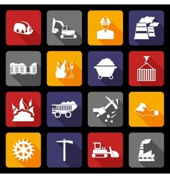 Coal industry icons flat vector