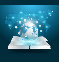 Open book and globe knowledge vector