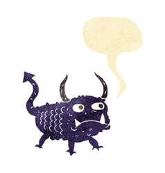 Cartoon little demon with speech bubble vector