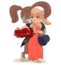 Valentines day card rabbit embracing his beloved vector