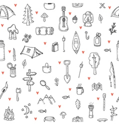 I love camping hand drawn hike seamless pattern vector