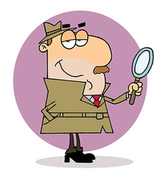 Caucasian cartoon investigator man vector