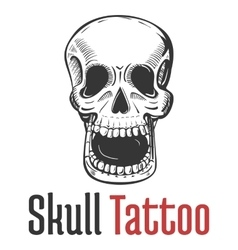 Skeleton skull with wide opened mouth tattoo vector