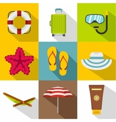 Beach vacation icons set flat style vector