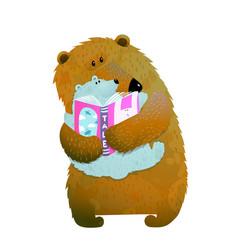Bear family reading vector
