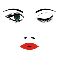 beautiful womens portrait long lashes red lips vector image