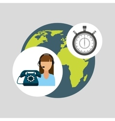 Call centre woman working globe clock vector