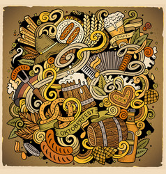 cartoon cute doodles hand drawn beer vector image
