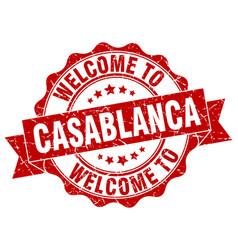 casablanca round ribbon seal vector image