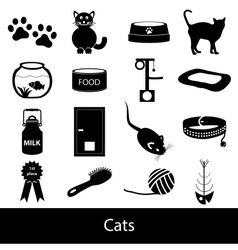 cats pets items simple black icons set eps10 vector image