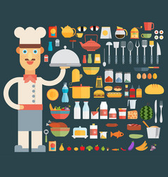 Chef cooking kitchen tools set flat vector