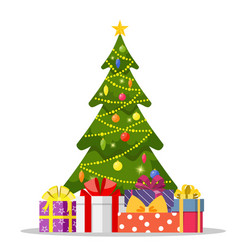 christmas tree and holiday gifts vector image