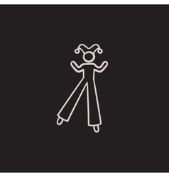 Clown on stilts sketch icon vector image vector image