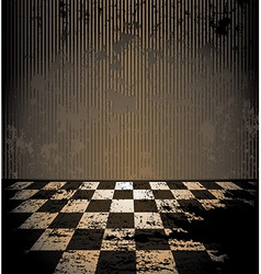 Dirty room with checkered floor vector