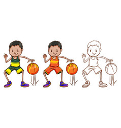 doodle character for basketball player vector image vector image
