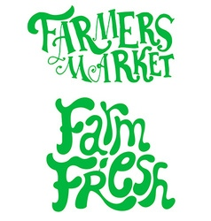 Farmers market farm fresh hand drwn phrases vector