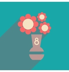 Flat icon with long shadow flowers in vase vector