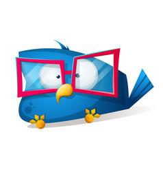 funny bird in the sunglasses cartoon vector image vector image