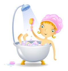 Girl in the shower vector