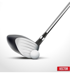 Golf club and ball at the moment of impact vector image